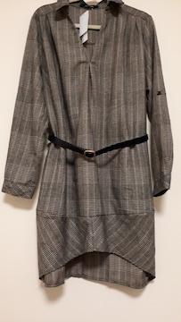 新品秋冬に綺麗なベルト付きグレーンチェック柄スキッパーシャツ