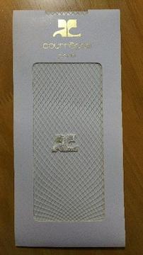 Courreges クレージュ サポート機能付 メッシュ柄編み ストッキング ロゴモチーフ付