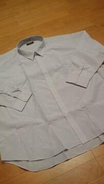 新品EXSTYLE チエック長袖Yシャツ グレー系 サイズ7LB 3XL位 南�B