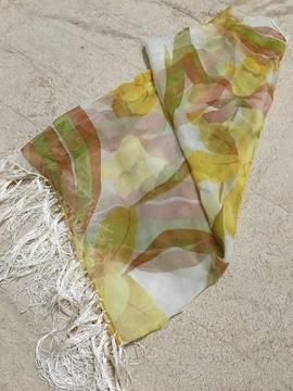 オシャレデザイン  スカーフ   シルク100%