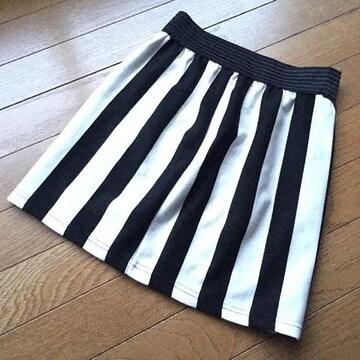 白黒ストライプ オシャレなタイトミニスカート M N2m