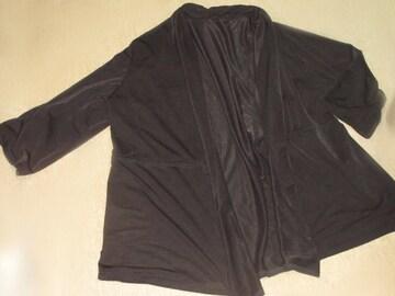シフォン*七分袖カーディガン*レディース羽織り(ブラック)