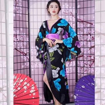 花魁風 サテン着物 ロングドレス 衣装 キャバ牡丹柄 コスプレ キャバドレス
