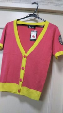 新品タグ付きM 半袖ニットカーディガンボレロピンク黄色スポーツ