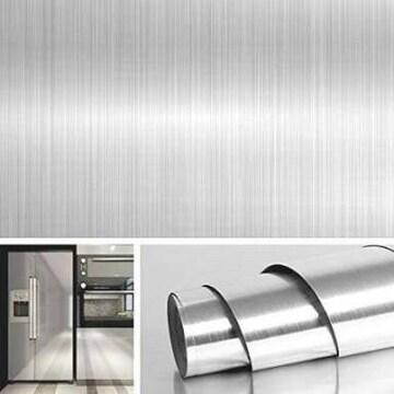 40cmx5m 金属の質感壁紙シール ステンレスシート 壁紙シール メ
