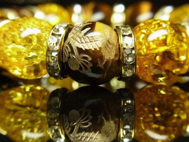 成功をもたらす数珠 金彫皇帝龍×シトリンクラック×タイガーアイブレスレット < 女性アクセサリー/時計の
