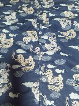 ☆新品紺×雲龍和柄ダボシャツ150