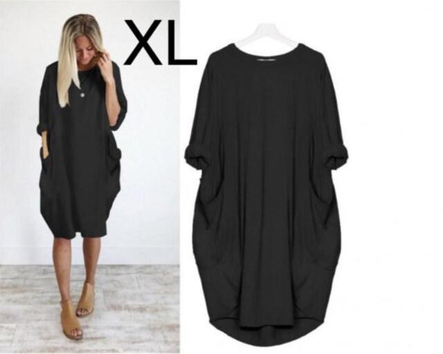 新品☆シンプル♪ゆるゆるチュニックワンピース ブラック XL  < 女性ファッションの