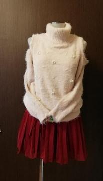 美品◆INGNI 肩出しタートルネック モヘアセーター ふわふわ ピンク M