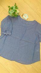 新品タグ付*やわらかコットンプルオーバーブラウス 袖口リボン LL/大きいサイズ