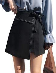 ハイウエスト ラップ巻スカート風 インナー付(M寸・黒)