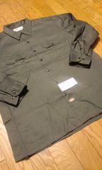 Dickiesディッキーズ長袖ワークシャツ チャコールグレー サイズ2XLXXL 19×32