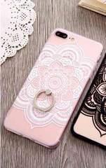 新品 iPhone7 iPhone8用 大きなお花のケース ホワイト�B