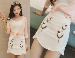 春新作♪美スタイル♪花柄刺繍入り&ビジュー付*カシュクール風スカート*白