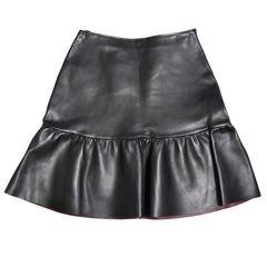 新品プラダ フリル レザースカート 黒 #40 PRADA