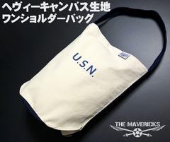 バケツ型 ワンショルダーバッグ キャンバス U.S.NAVYロゴ 新品