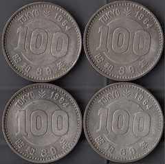 東京五輪記念百円銀貨4枚売り。