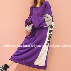 3L4L5L6L大きいサイズ/ロゴ配色ゆるロングワンピース/紫