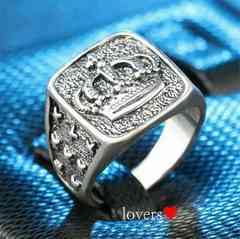 送料無料20号クロムシルバークラウン王冠スタンプリング指輪