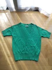 グリーンVネック ニットシャツ 半袖