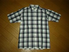 APEエイプ半袖チェックシャツS胸ロゴ猿ワッペン