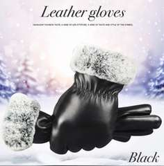手袋 革手袋 レザーレディース ファー付 スマホ手袋 ブラック
