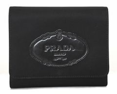 正規プラダギャラ付三つ折り財布ブラック黒ナイロンレディース1M0710PRADA
