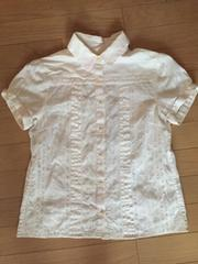 SHIPS 白 半袖 綿100% デザインシャツ ブラウス