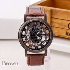 腕時計 ギリシャ文字 アナログ メンズ クォーツ 時計 レザー