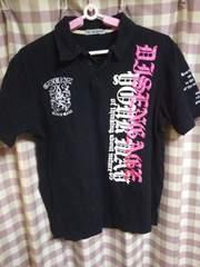 ★Sorridere オシャレデザイン ラメ プリント ハデハデ ポロシャツ サイズ L ブラック●