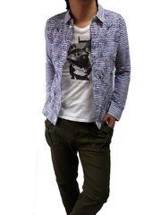 刺繍マルチストライプデザインシャツMストライプ新品※2点送料無料