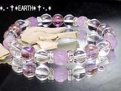 天然石★紫薔薇◆ラベンダーアメジスト高級水晶フラッシュアメジスト数珠