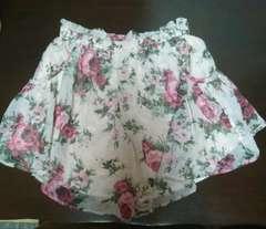 シフォンキュロットスカート 花柄 フレアミニキュロットスカート