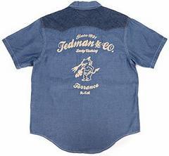 テッドマン/刺繍/半袖ウエスタンシャツ/ブルー/tshb-1400ws/エフ商会/カミナリモータース