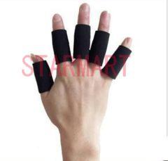 【10個セット】 指用サポーター 突き指防止やケアに (黒)