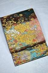 千鳥624*金唐草織 牡丹小柄紋 粋な袋帯 美品