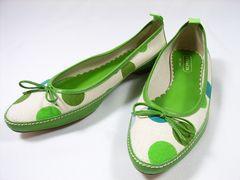 送料無料COACHコーチドットシューズグリーン靴24.5cm