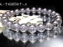 天然石★8ミリ銀色爆裂水晶シルバーフラッシュクラック水晶数珠