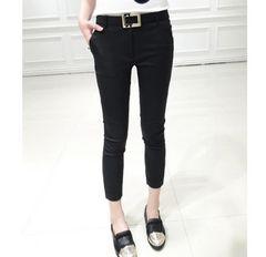 *2L/LL/XL★大きいサイズ 2点セット*シンプル7分丈パンツ 黒 ブラック 即決