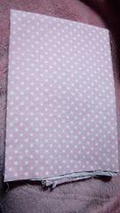 綿麻カットクロス(ピンク+白水玉)