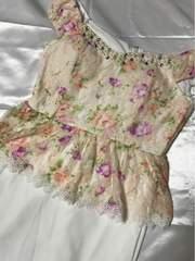 格安◆上質厚手◆新品オフショルお花レースペプラムミニ◆ピンク