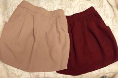 ボルドー キャメル バルーン型スカート 2色セット未使用美品