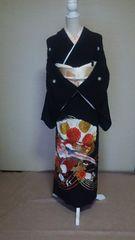 黒留袖五ッ紋比翼仕立 丈160.5裄64鳳凰文様刺繍 長身様用