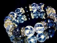 トルネードスクリュー水晶§ドラゴンアゲート黒龍紋瑪瑙§12ミリ§金ロンデル