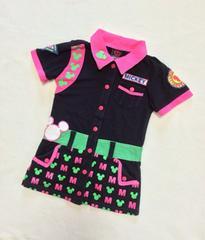 BABY DOLL☆MICKEYコラボ☆可愛いシャツ風ワンピース☆BK☆90