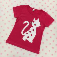 可愛い猫ちゃん 後ろハート総柄プリントピンク 半袖カットソー95