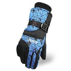 防撥水 防寒 スキー 手袋グローブ ブルー