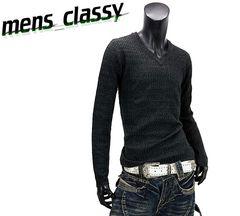 新品★Vネックニットセーター メンズ 黒ブラック Lサイズ