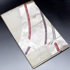 【袋帯】正絹 アイボリー地 花や組紐の柄