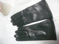 イタリアポルトラーノ皮革仕様羊手袋21黒裏地シルク100%